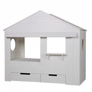 Pat alb din lemn de pin 90x200 cm Huisie Woood