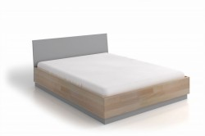 Pat maro/gri din lemn 160x200 cm Finn Storage Natural Grey Skandica