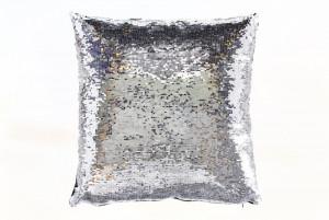 Perna decorativa patrata argintie/alba din poliester 40x40 cm Lilly Invicta Interior