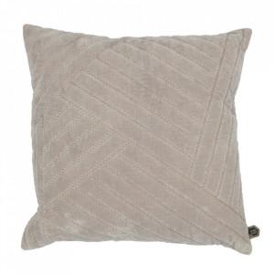 Perna decorativa patrata gri din catifea 50x50 cm Stroke Be Pure Home