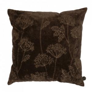 Perna decorativa patrata maro inchis din bumbac 50x50 cm Hogweed Be Pure Home