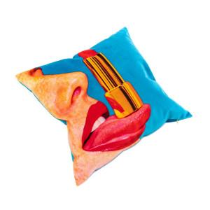 Perna decorativa patrata multicolora din poliester 50x50 cm Tongue Toiletpaper Seletti