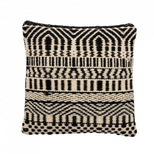 Perna decorativa patrata neagra/bej din lana 45x45 cm Bix Bloomingville