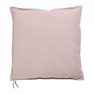 Perna decorativa patrata roz din in si bumbac 40x40 cm Soft Collection Bolia