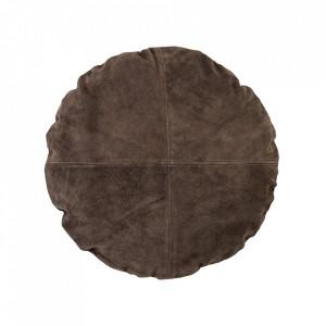 Perna decorativa rotunda maro din piele 45 cm Nature Bloomingville