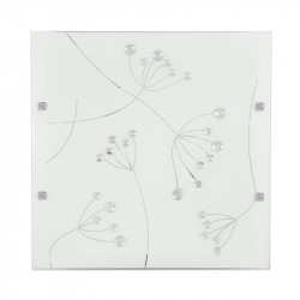Plafoniera alba din sticla si otel cu 2 becuri Arty Candellux