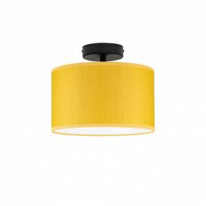 Plafoniera galbena/neagra din otel si textil Milla Basic Mustard Bulb Attack