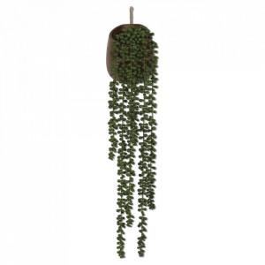 Planta artificiala suspendabila verde/maro din plastic si papier mache 76 cm Succulents Opjet Paris