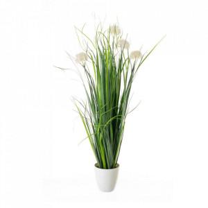 Planta artificiala verde/alba din plastic si polietilena 65 cm Lumos Unimasa