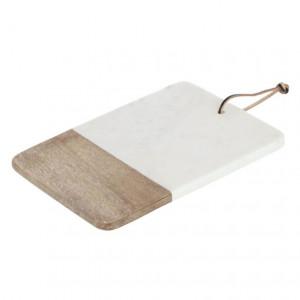 Platou alb/maro din marmura si lemn de mango 20x30 cm Danelle Kave Home