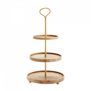 Platou cu 3 niveluri auriu/maro din fier si lemn 59 cm Etage Mango Madam Stoltz