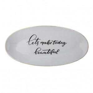 Platou gri din ceramica 43 cm Serving Bloomingville