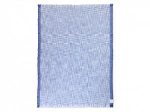 Pled albastru din lana 135x170 cm Enfold Blue White Ferm Living