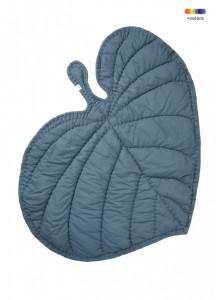 Pled albastru petrol din bumbac organic pentru copii 110x125 cm Leaf Nofred