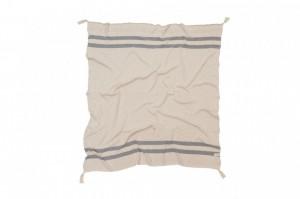 Pled crem/gri din bumbac 125x150 cm Stripes Natural-Grey Lorena Canals