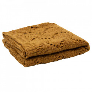 Pled galben mustar din lana si fibre acrilice 130x170 cm Ajour Be Pure Home