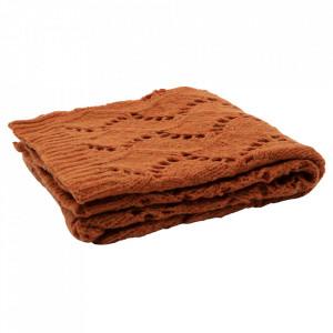 Pled maro teracota din lana si fibre acrilice 130x170 cm Ajour Be Pure Home