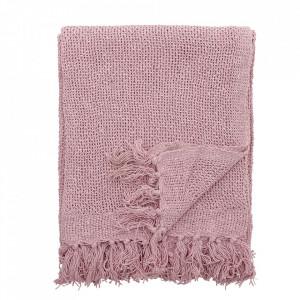 Pled roz din bumbac 130x160 cm Alleva Bloomingville