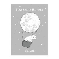 Poster gri din hartie 70x50 cm I love you to the moon Bloomingville