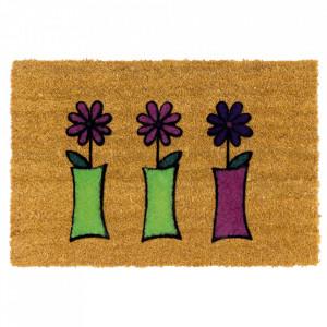 Pres dreptunghiular multicolor din fibre de cocos pentru intrare 40x60 cm Flowers Lako