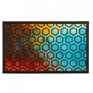 Pres dreptunghiular multicolor din poliamida si cauciuc pentru intrare 45x75 cm Hexagon Lako