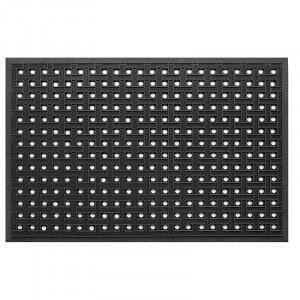 Pres dreptunghiular negru din cauciuc pentru intrare 80x120 cm Basket Lako