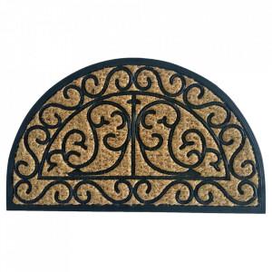 Pres oval maro/negru din fibre de cocos pentru intrare 45x75 cm Ornament Lako