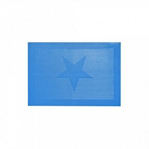 Protectie masa dreptunghiulara albastra din tesatura de plastic 30x45 cm Etoile Blue Objet Paris