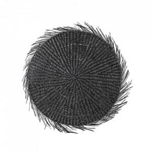 Protectie masa rotunda neagra din iarba de mare 38 cm Lya Bloomingville