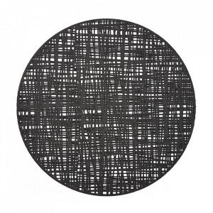 Protectie masa rotunda neagra din PVC 38 cm Scribble Zeller