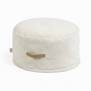 Puf rotund alb din poliester 50 cm Adara Kave Home