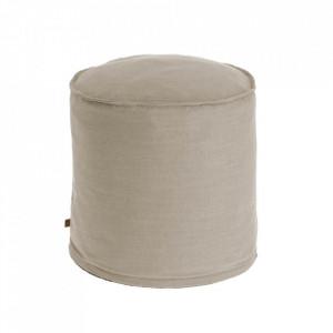 Puf rotund bej din textil 42 cm Maelina Kave Home