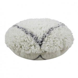Puf rotund crem/gri carbune din lana si bumbac 70 cm Bereber Soul Lorena Canals
