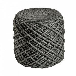 Puf rotund gri din lana si viscoza 40 cm Royal Obsession