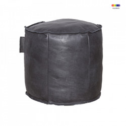 Puf rotund negru din piele 50 cm Louisiana LifeStyle Home Collection