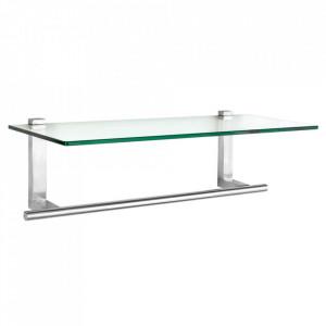 Raft cu suport prosoape argintiu/transparent din metal si sticla 60 cm Venosa Wenko