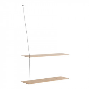 Raft maro/negru din lemn de stejar si metal 80 cm Stedge Woud