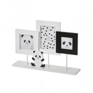 Rama foto neagra/alba din MDF si sticla pentru 3 fotografii 25x34 cm Panda Unimasa
