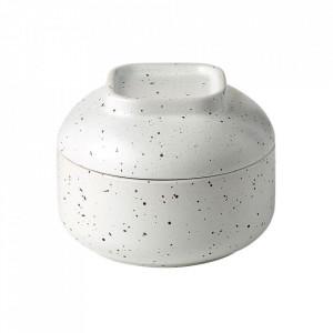 Recipient cu capac alb din ceramica 9x12 cm Forma Bolia