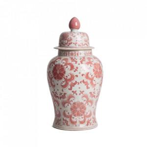 Recipient cu capac alb/rosu din ceramica 34x68 cm Anto Vical Home