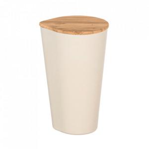 Recipient cu capac crem/maro din fibre de bambus si lemn 1 L Derry Wenko