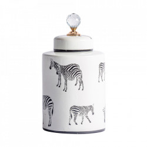 Recipient cu capac negru/alb din ceramica 18x33 cm Zebra Vical Home