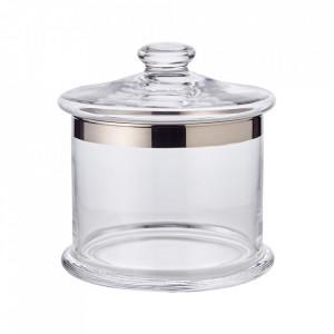 Recipient cu capac transparent/argintiu din cristal 15x21 cm Erik Edzard