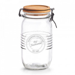 Recipient cu capac transparent/maro din sticla si lemn 1450 ml Old Fashioned Zeller