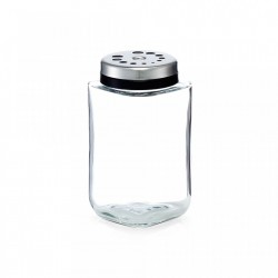 Recipient transparent/gri din sticla si inox 190 ml Spice Shaker Zeller