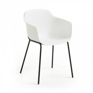 Scaun alb din plastic cu structura metal negru Khasumi La Forma