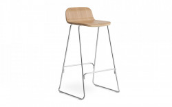Scaun bar maro/argintiu din lemn si metal Just Oak Normann Copenhagen