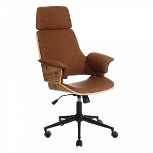 Scaun birou ajustabil cu roti din piele si lemn High Wheels Ixia