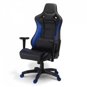 Scaun birou ajustabil negru/albastru din poliuretan si plastic De Luxe Furnhouse