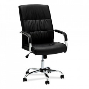 Scaun birou ajustabil negru din poliuretan si metal Rex Furnhouse